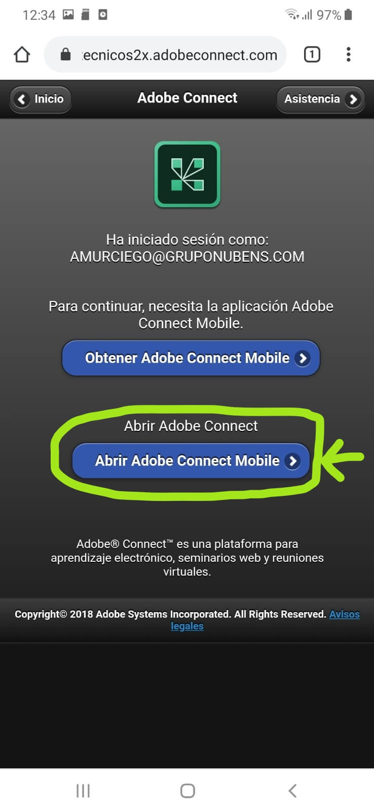 Datos acceso aula virtual android