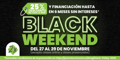 Black Weekend 2020 Psicotécnicos2x