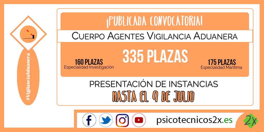 Convocatoria Cuerpo Agentes Vigilancia Aduanera 2019 Twitter