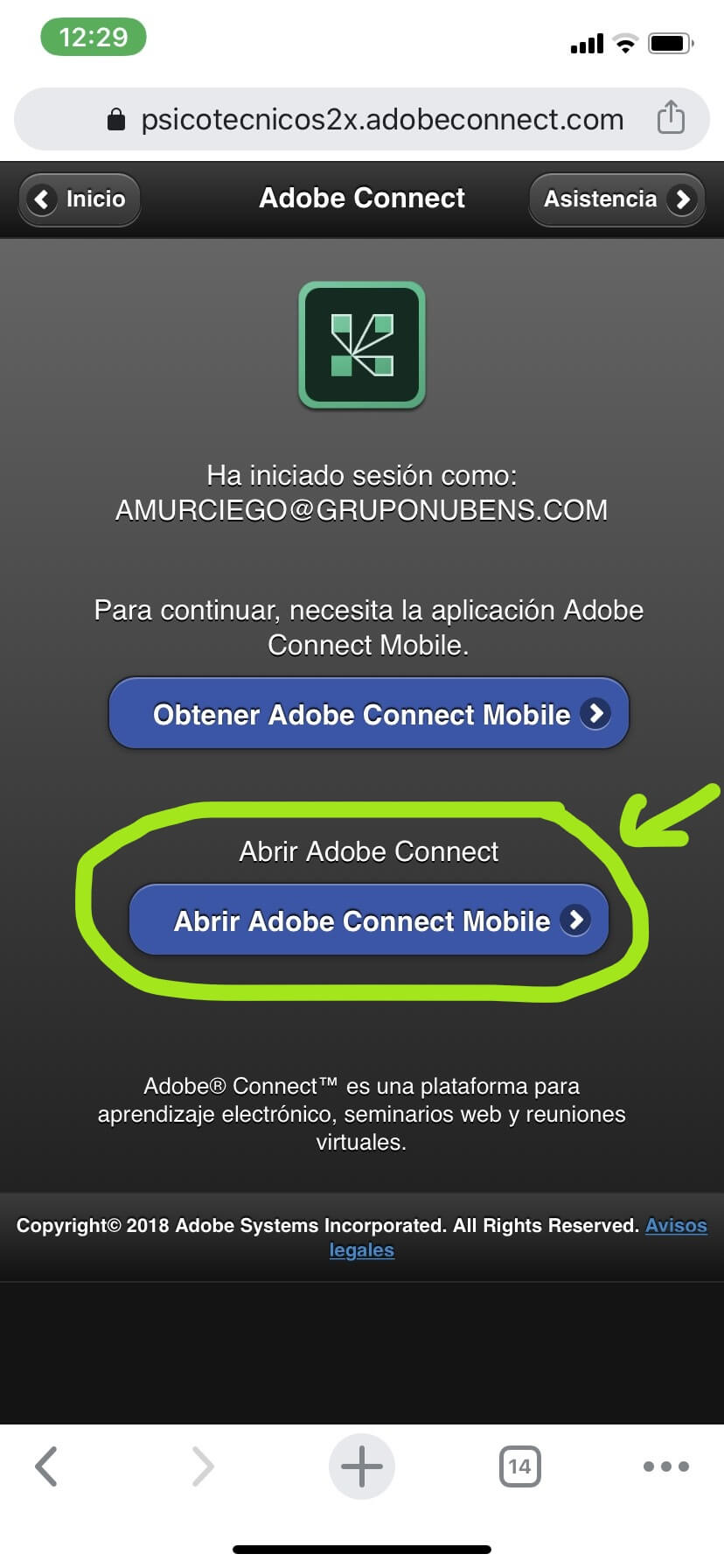 Datos acceso aula virtual iOS