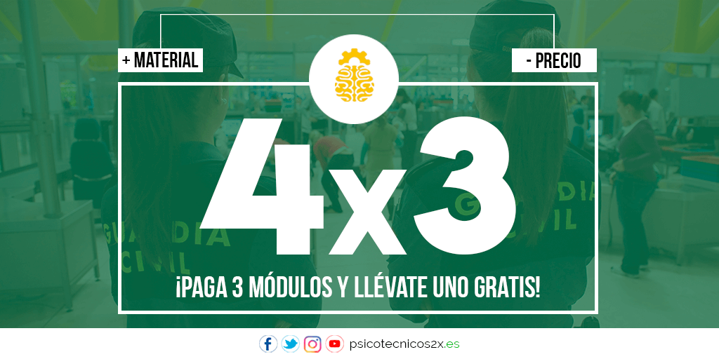 Oferta 4×3 Psicotécnicos Guardia Civil